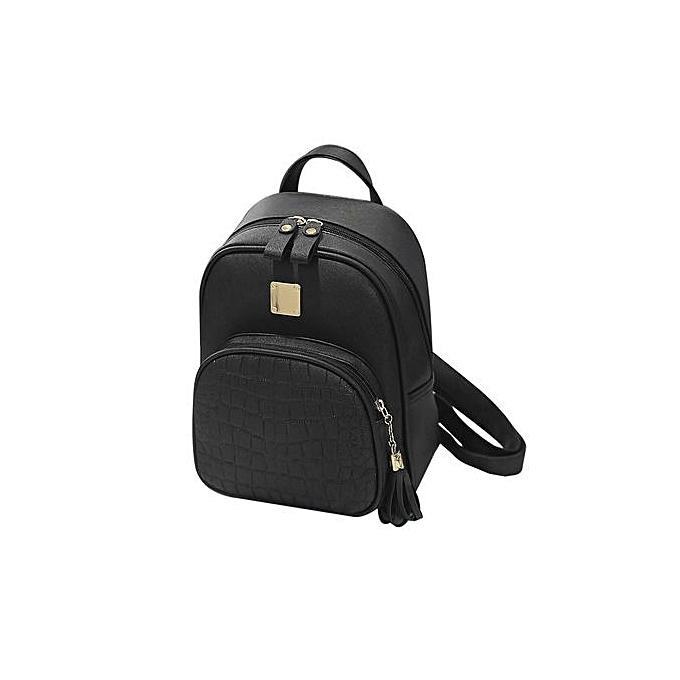 Generic Soft PU cuir Shoulder sac de plein air voyage sac à dos Students School sacs noir à prix pas cher