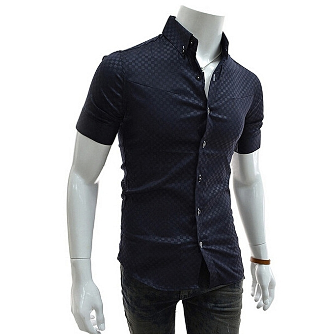 Other Fashion Story House Casual Men's Summer Wear Short Sleeves Slim Shirt à prix pas cher