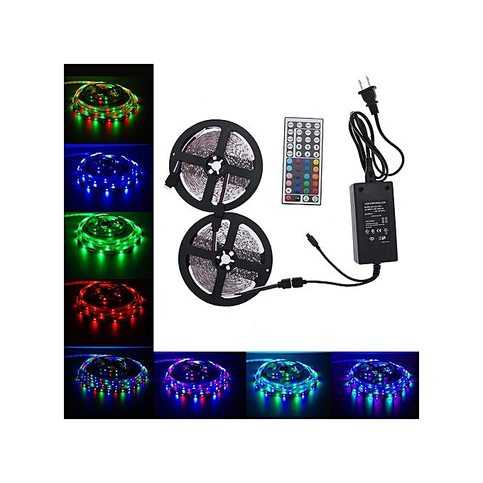 Generic Hiamok-10M 3528 RGB 600leds SMD LED Light Strip Kit+44 Key IR+12V 5A Power Supply à prix pas cher