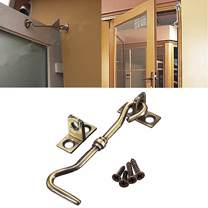 UNIVERSAL 5pcs 3'' Cabinet Door Showcase Holder Window Latch Hook & Eye Wind-Proof Silent Lock Bronze à prix pas cher