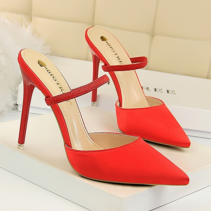 Other Simple High Heel Pointed Toe Single chaussures  Satin Slippers-rouge à prix pas cher