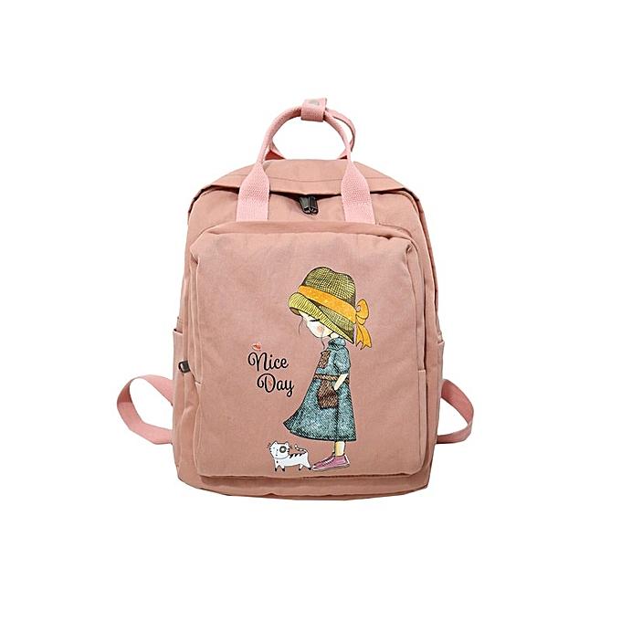 Other femmes sac à dos Retro voituretoon impression Nylon imperméable shoulder sacs School sac à doss For Teenage Girl A sacue sac à dos(girl rose) à prix pas cher