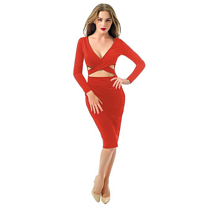 Fashion femmes Sexy V-Neck Long Sleeve   Mini Dress nightclub straps dress L. à prix pas cher