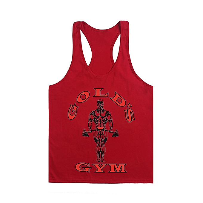 Other nouveau mode Hommes& 039;s Cotton Sweat-Absorbing Bodybuilding and Fitness Training Vest-rouge and rouge à prix pas cher