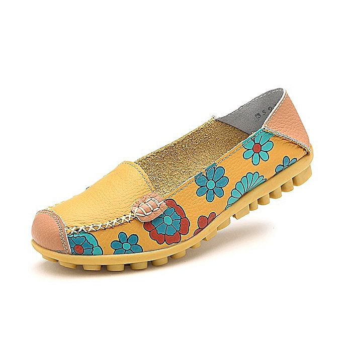 Fashion Big Taille femmes Flower Floral Leather Loafers Moccasins Flats Soft Ballet chaussures Round Toe Flats à prix pas cher    Jumia Maroc