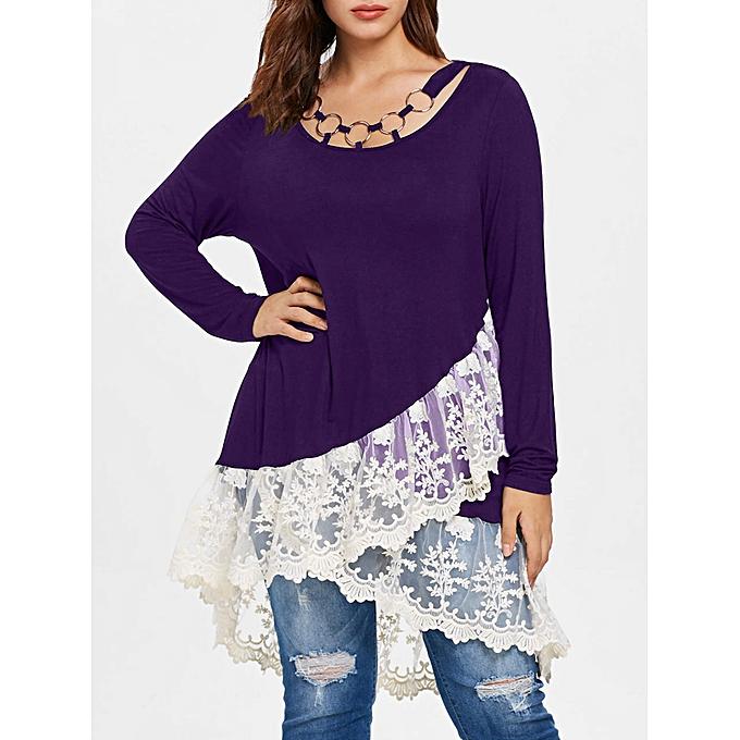 Fashion Plus Taille Lace Trim Layerouge Tunic T-Shirt,violet Iris à prix pas cher