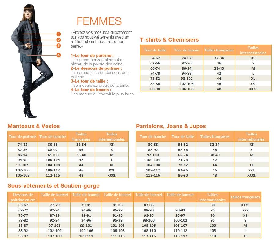 image pour le guide des tailles femmes sur jumia