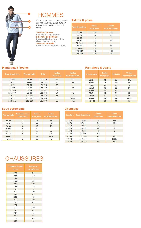 image pour le guide des tailles hommes sur jumia