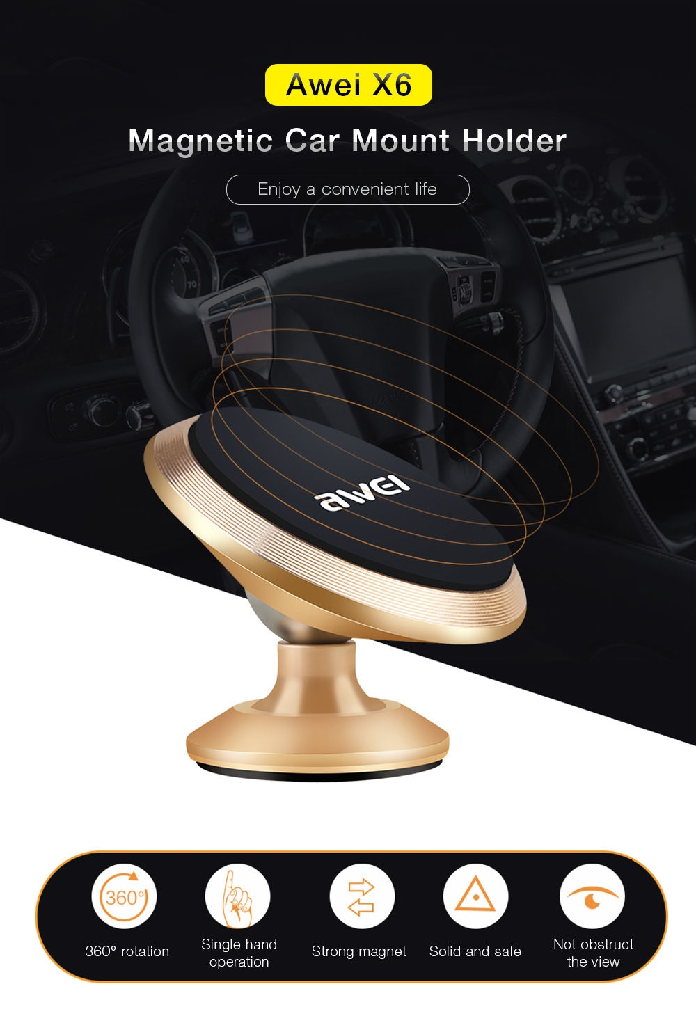 Awei X6 Magnetic Car Phone Holder Mount Stand Suction Bracket 360 Degree Rotation Adhesive Type