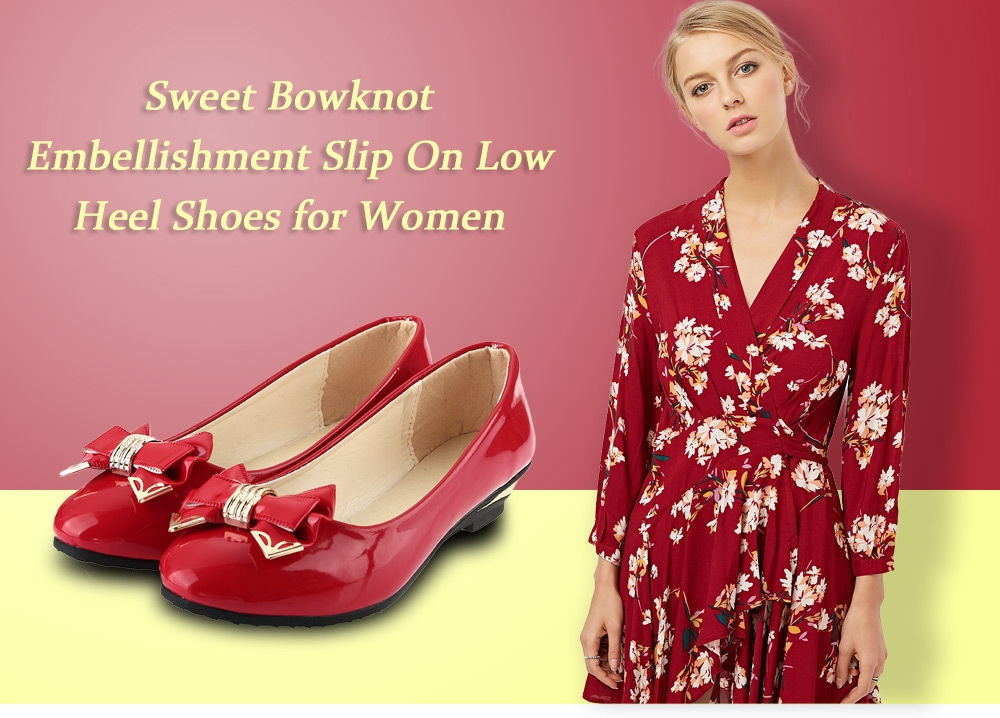 Sweet Bowknot Embellishment Slip On Low Heel Shoes for Women
