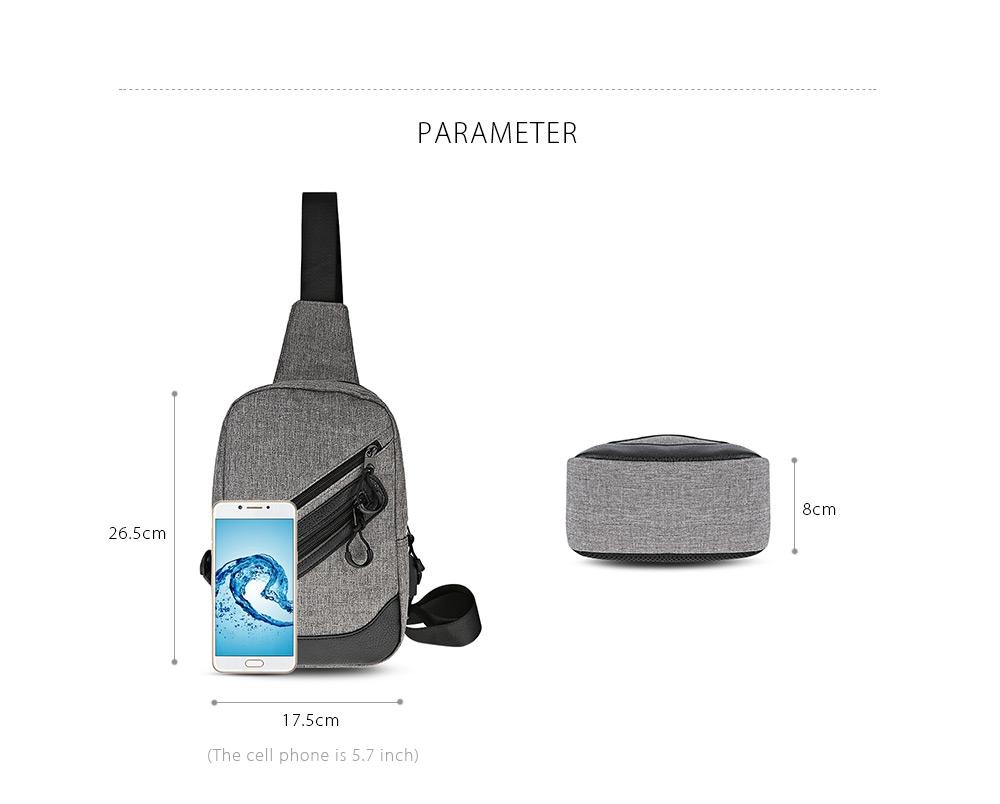 Guapabien Stylish Business Shoulder Bag USB Port Durable Traveling Chest Bags