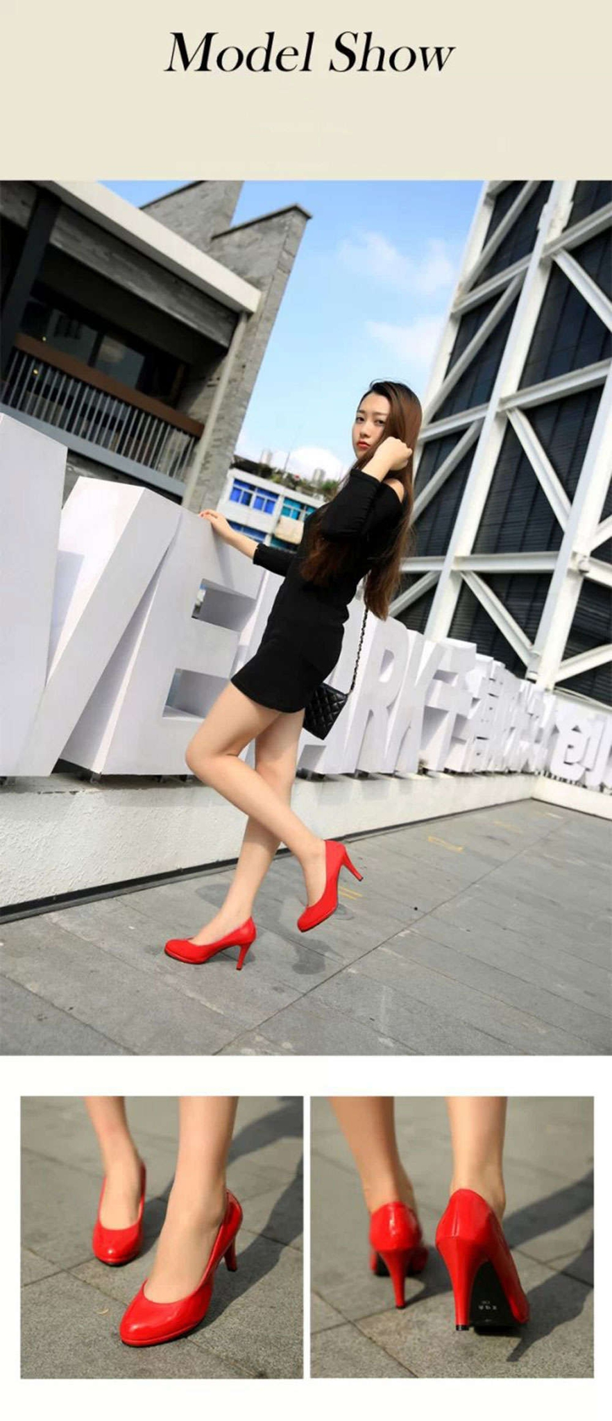 Spring Summer Pure Color Shallow Mouth Round Toe Patent Leather Thick High Heel Shoes for Women