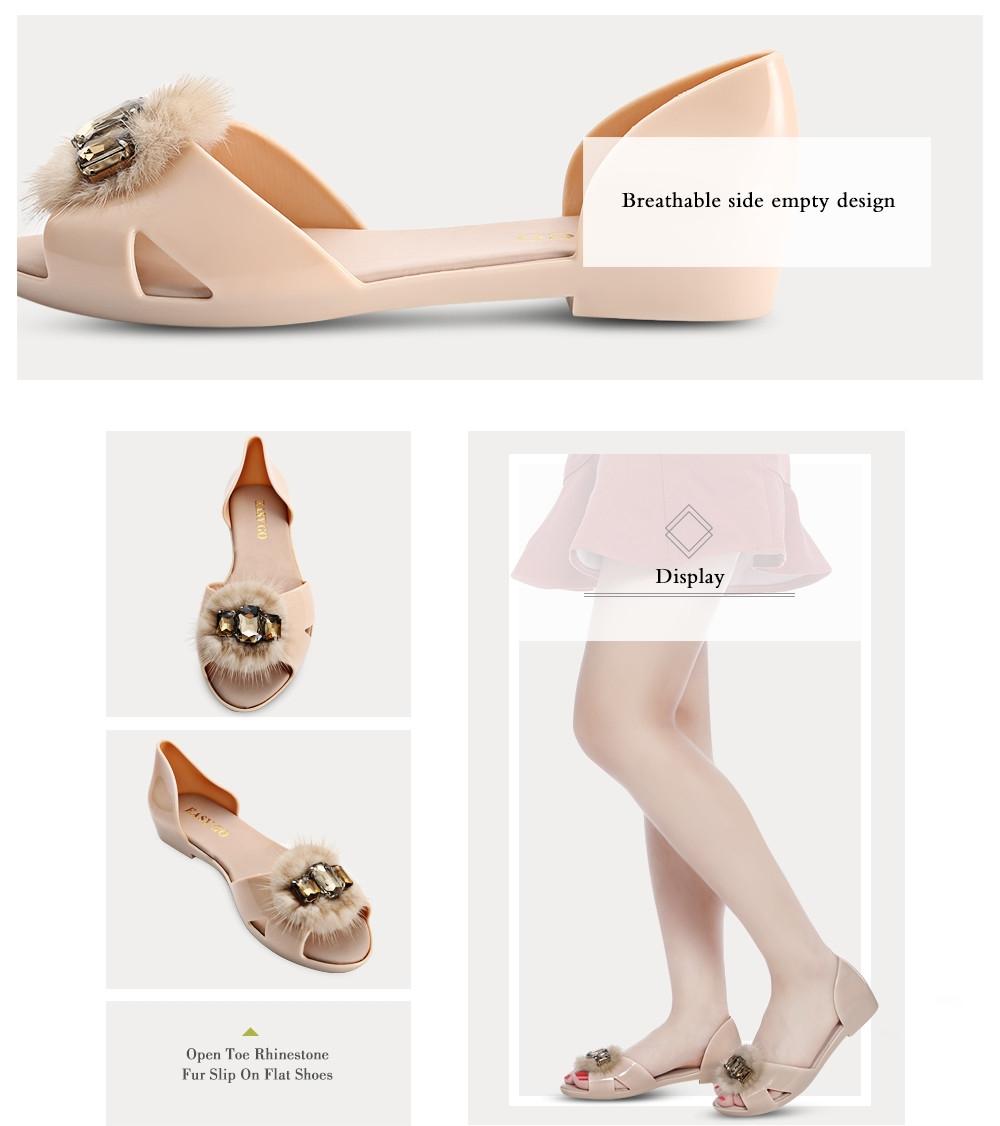 Open Toe Rhinestone Fur Slip On Flat Shoes for Women