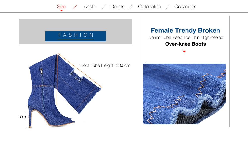 Female Trendy Broken Denim Tube Peep Toe Thin High-heeled Over-knee Boots