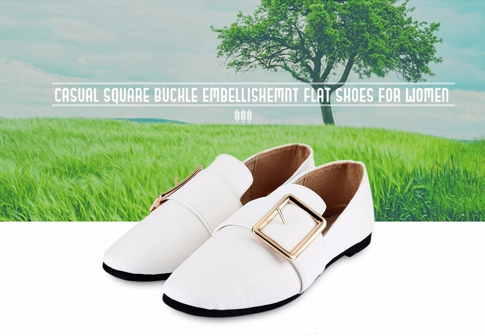 Casual Square Buckle Embellishment Flat Shoes for Women