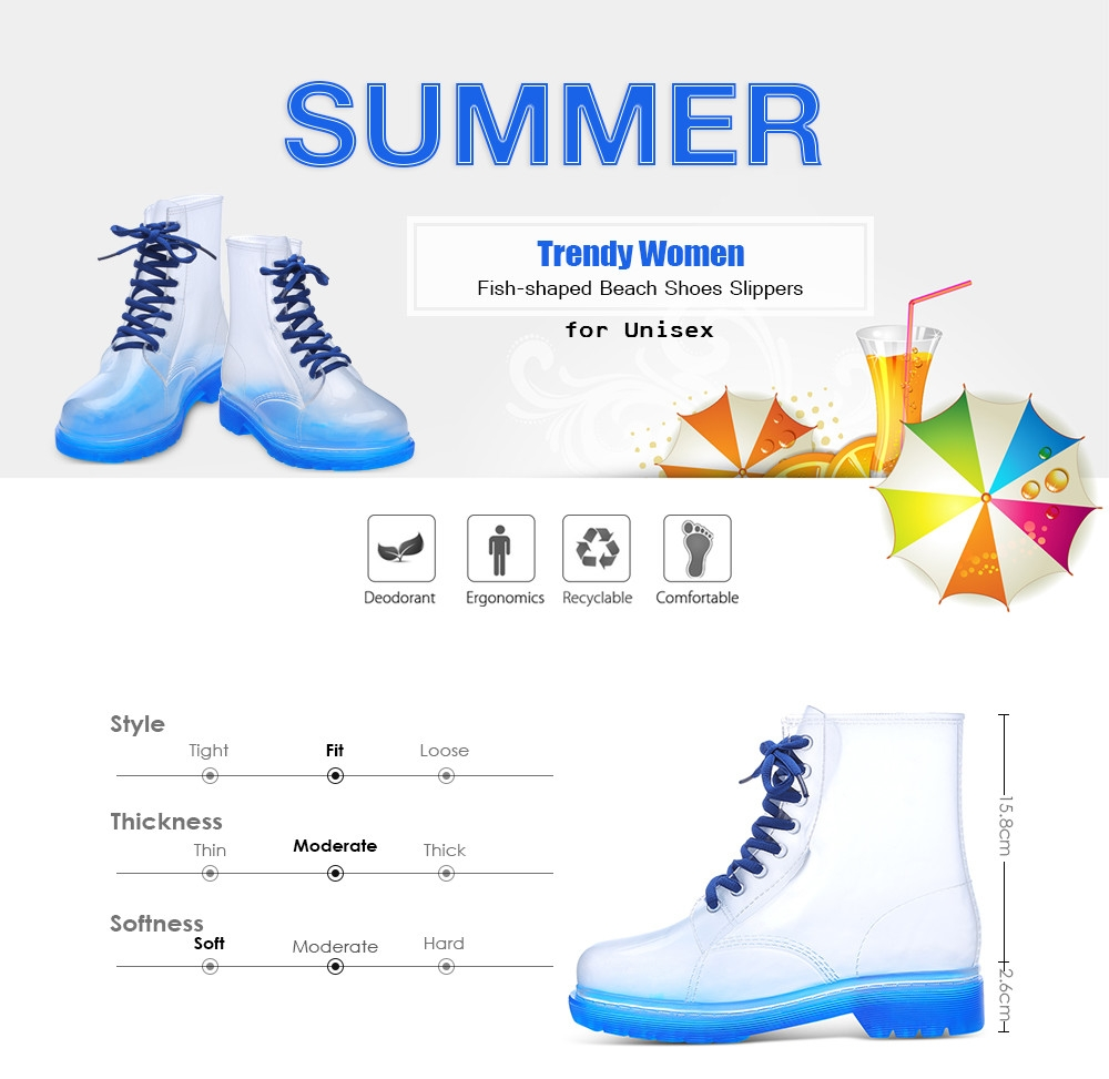Trendy Women Transparent Candy Color Skidproof Mid-high Rain Boots