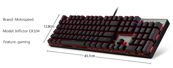 Motospeed Inflictor CK104 Mechanical Gaming Keyboard Ergonomic Virtual Keyboards with Backlight