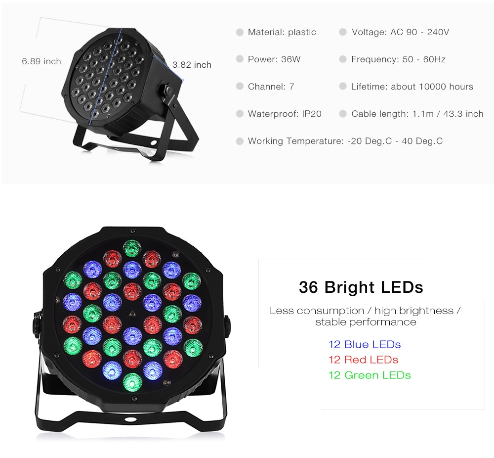 36W RGB LED Flat Par Light Stage Lamp for KTV Party Disco DJ Bar Effect UP Decorative Illumination