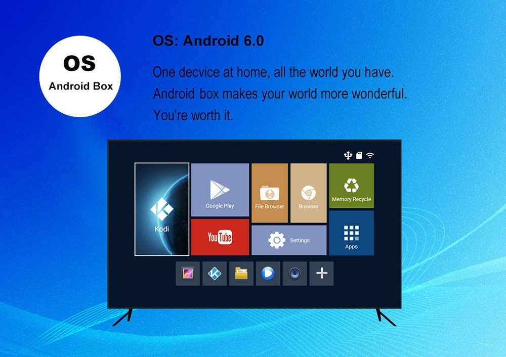 TX7 Android 6.0 TV Box with Amlogic S905X Quad Core Dual Band WiFi 2.4GHz + 5GHz Bluetooth 4.0 Mini PC