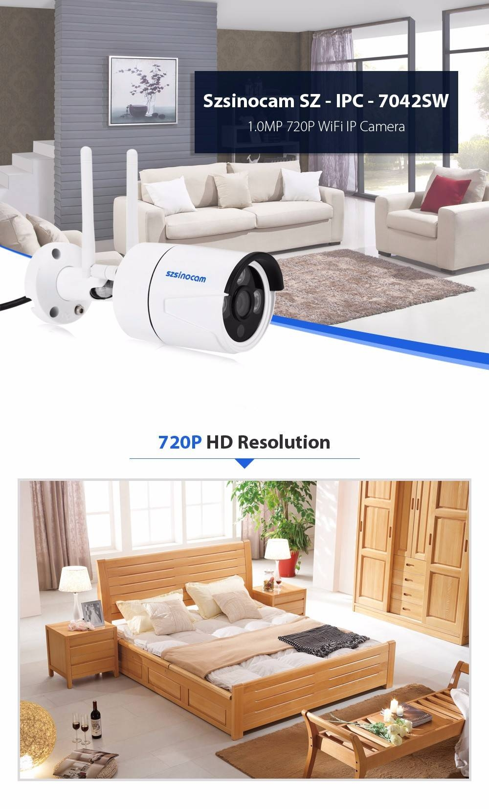 Szsinocam SZ - IPC - 7042SW 1.0MP WiFi IP Camera Security System 720P Motion Detection Waterproof