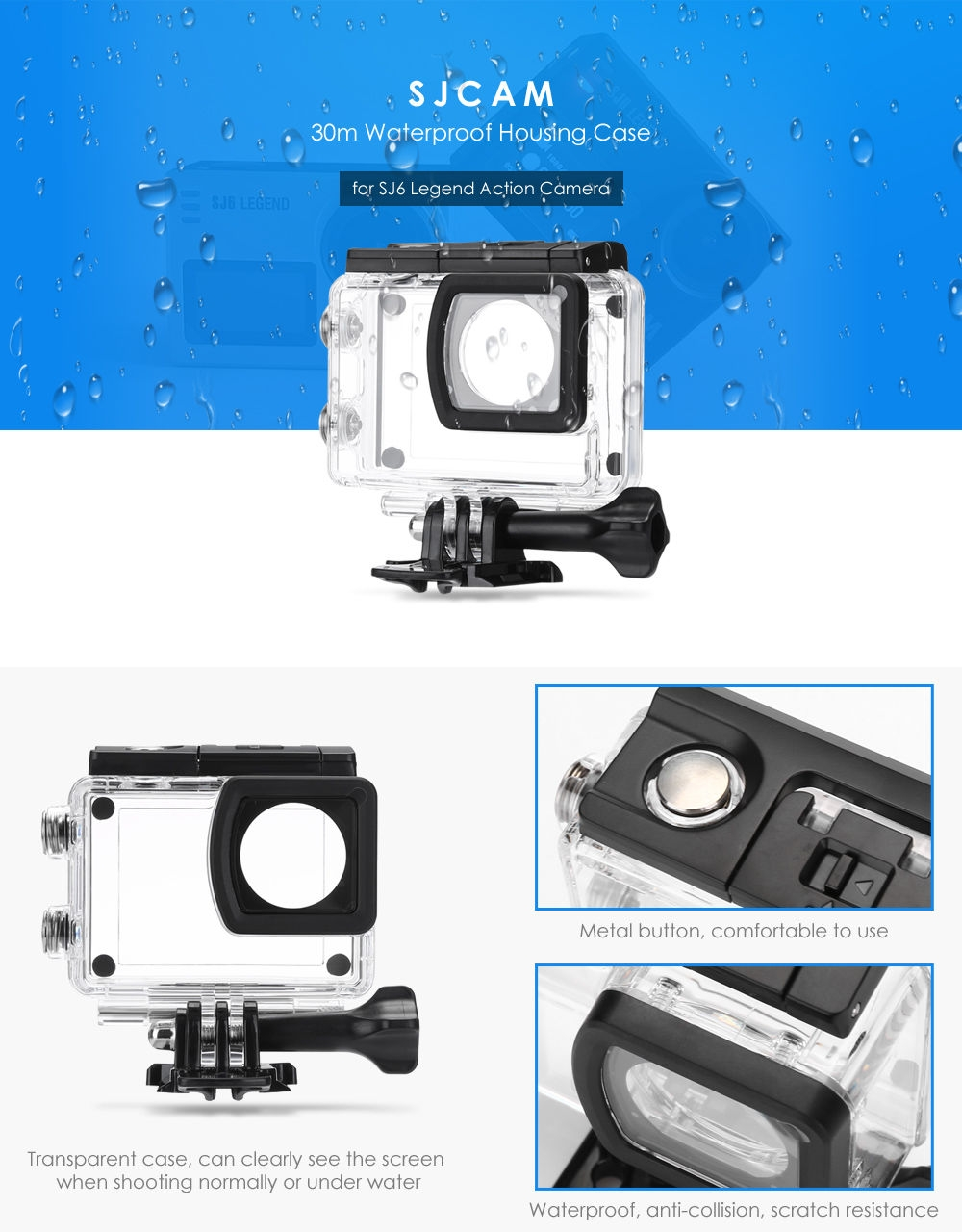 SJCAM 30m Waterproof Housing Case for SJ6 Legend Action Camera
