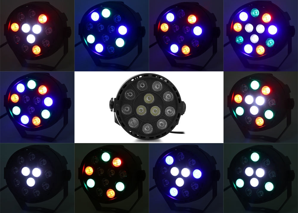 12 LEDs RGBW Color Mixing Par Lamp 8CH Voice Activated Stage Light
