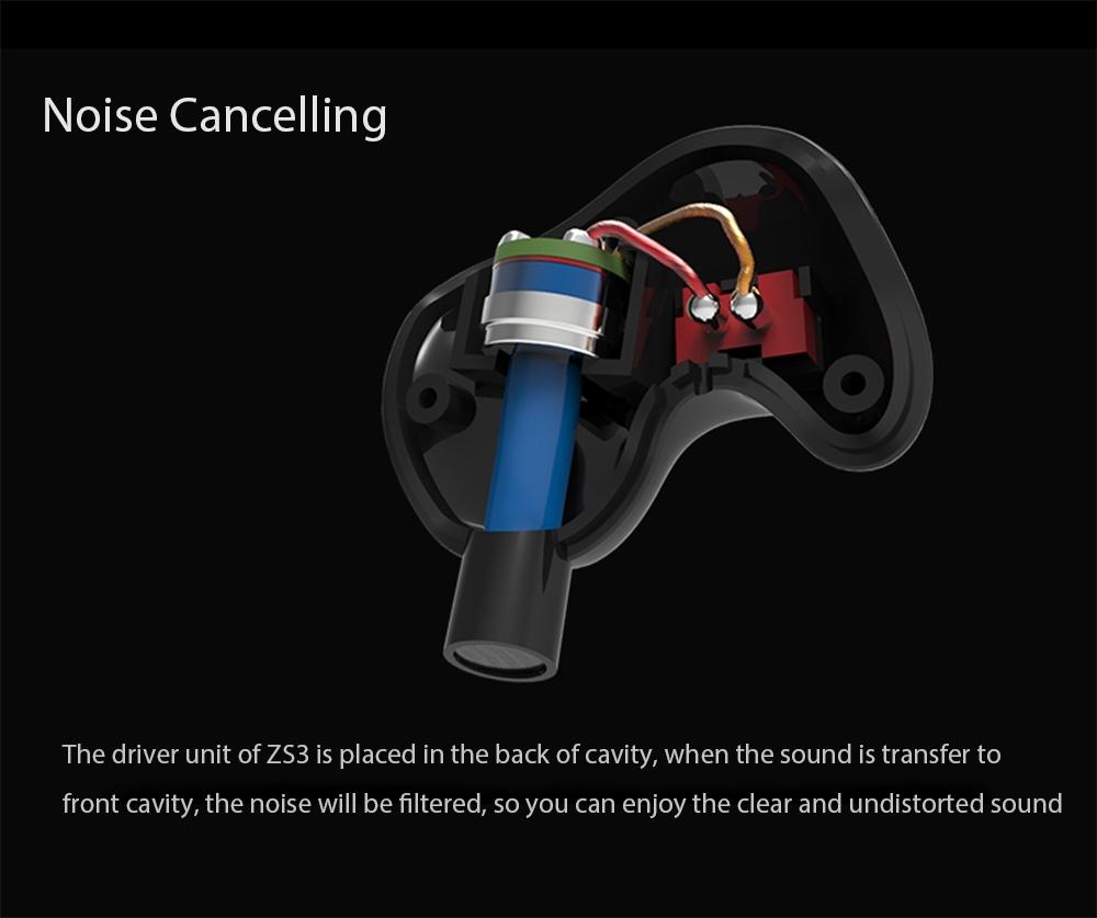 KZ ZS3 HiFi In-ear Earphones with Mic Detachable Earbud Design