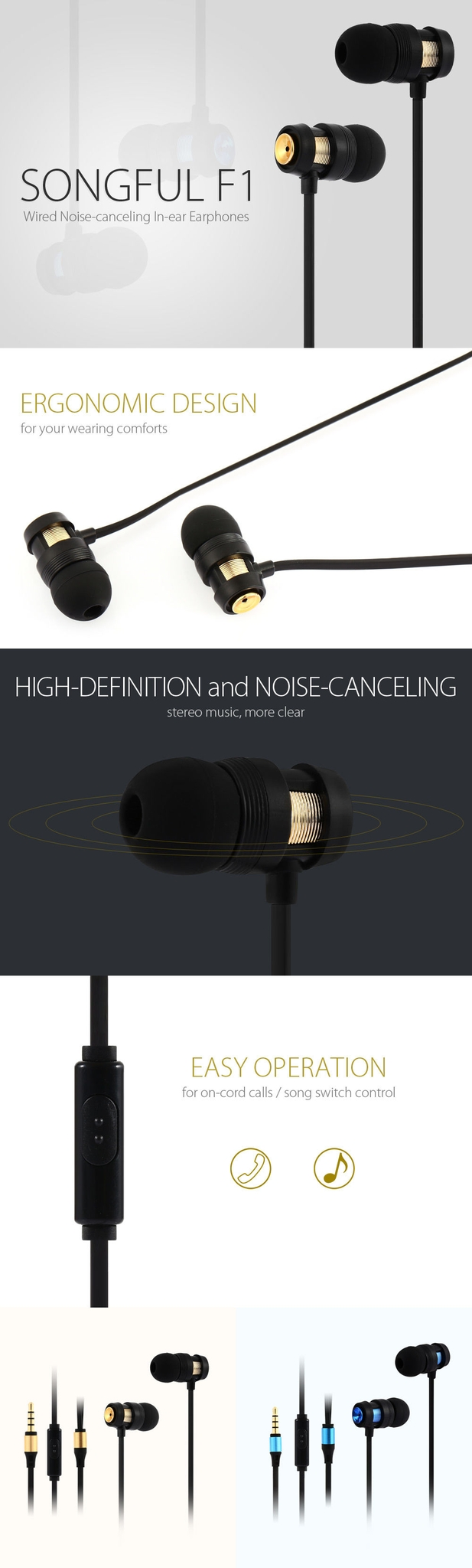 SONGFUL F1 Wired On-cord Song Switch Control Noise-canceling Sports In-ear Earphones