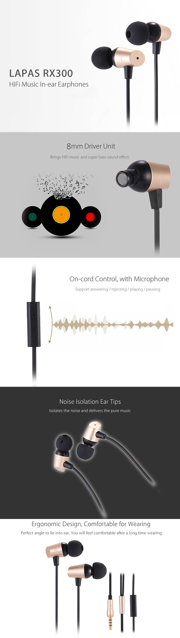 LAPAS RX300 HiFi Music In-ear Earphones with Mic Support Hands-free Calls Noise Canceling
