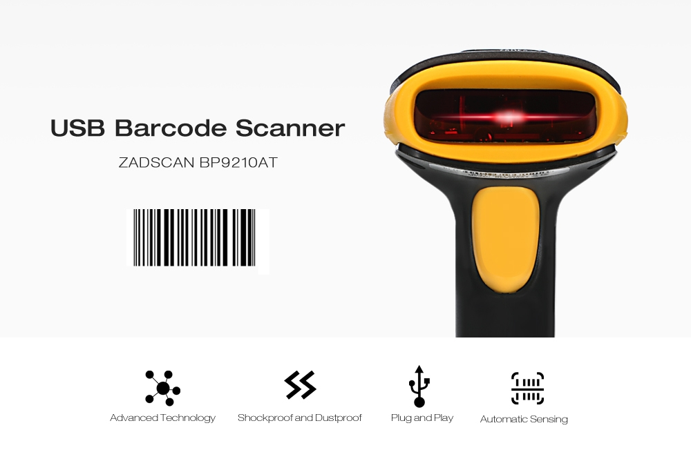 ZADSCAN BP9210AT 1D Wired Barcode Scanner Handheld Bar-code Reader with USB Cable