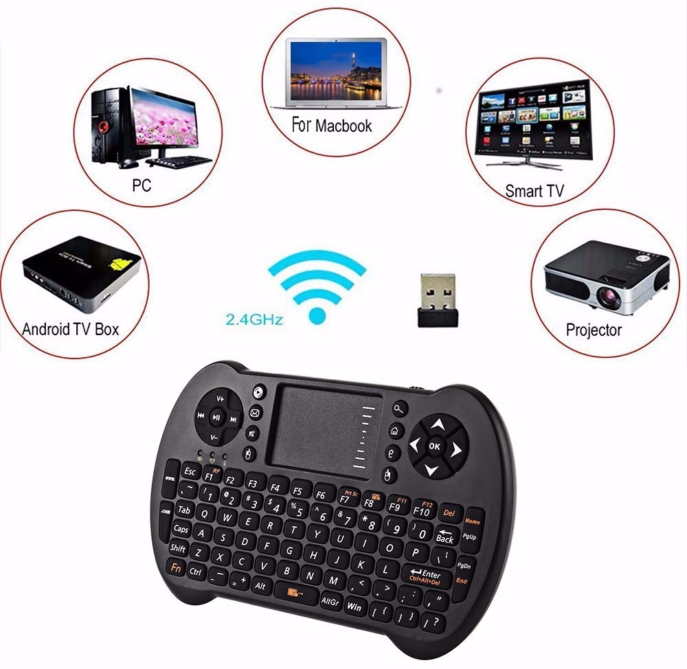 VIBOTON - S501 2.4GHz Mini Wireless QWERTY Keyboard Air Mouse Touchpad Remote Control