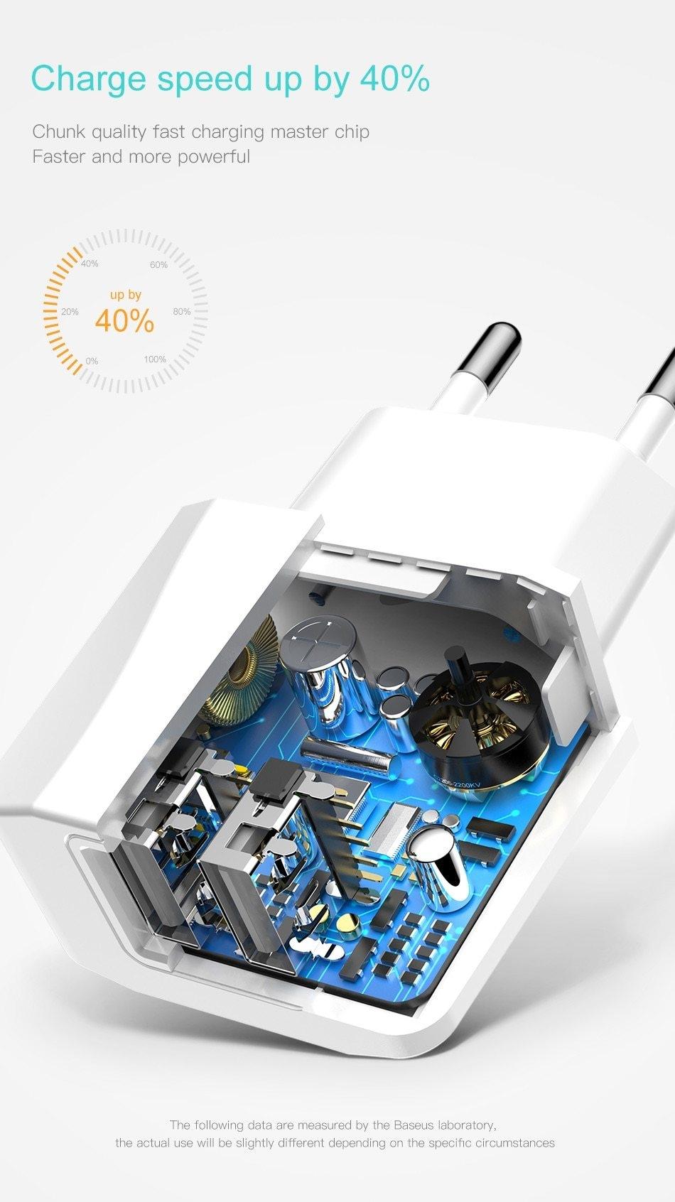 Baseus double chargeur USB prise ue 2.1A Max chargeur de téléphone Portable à charge rapide