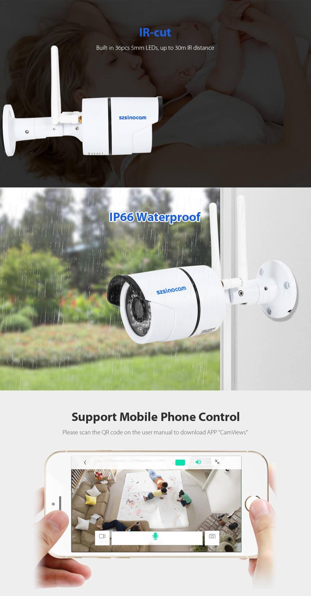 Szsinocam SZ - IPC - 7032SW1.0MP WiFi IP Camera Security System 720P Motion Detection Waterproof
