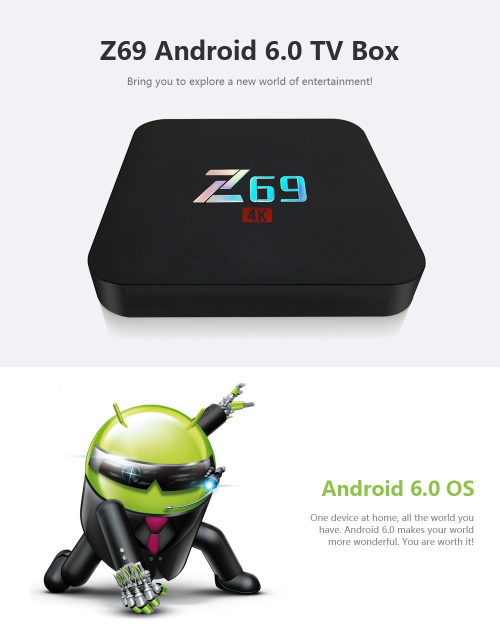 Z69 Android 6.0 TV Box Amlogic S905X Quad Core CPU Streaming Media Player