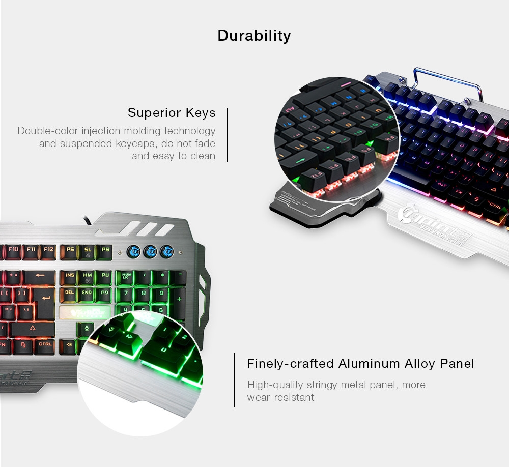 7pin PK900 Gaming Keyboard with RGB Backlight 104 Keys