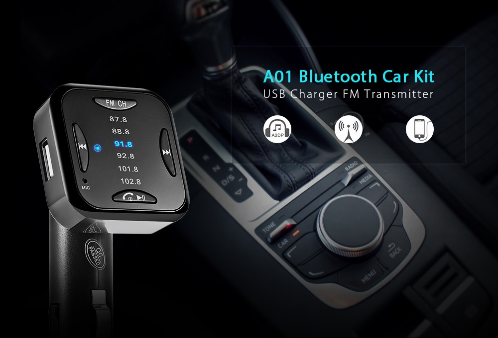 A01 Bluetooth Car Kit Wireless Speakerphone USB Charger FM Transmitter for Mobile Phone