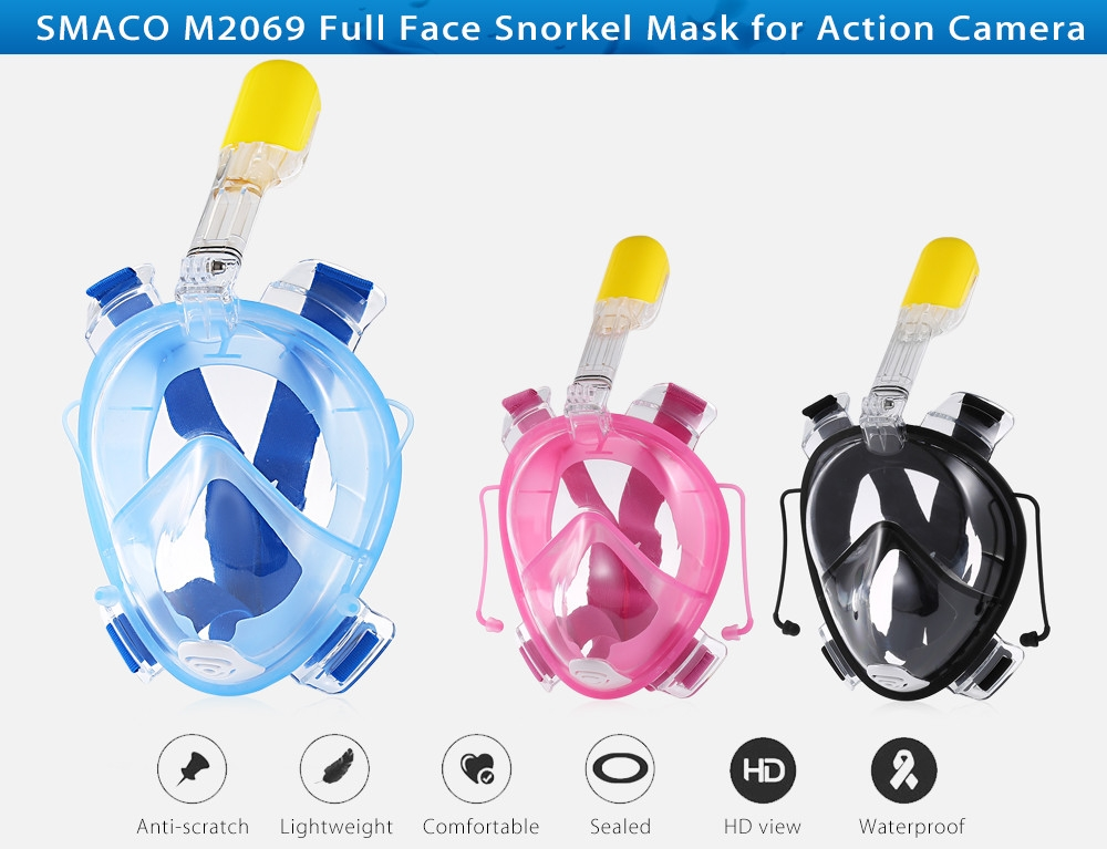SMACO M2069 Full Face Snorkeling Scuba Diving Mask with Water Resistant Ear Plug for Action Camera