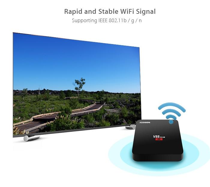 SCISHION V88 plus TV Box Rockchip 3229 Quad-core Android WiFi H.265 VP9 4K Smart Media Player