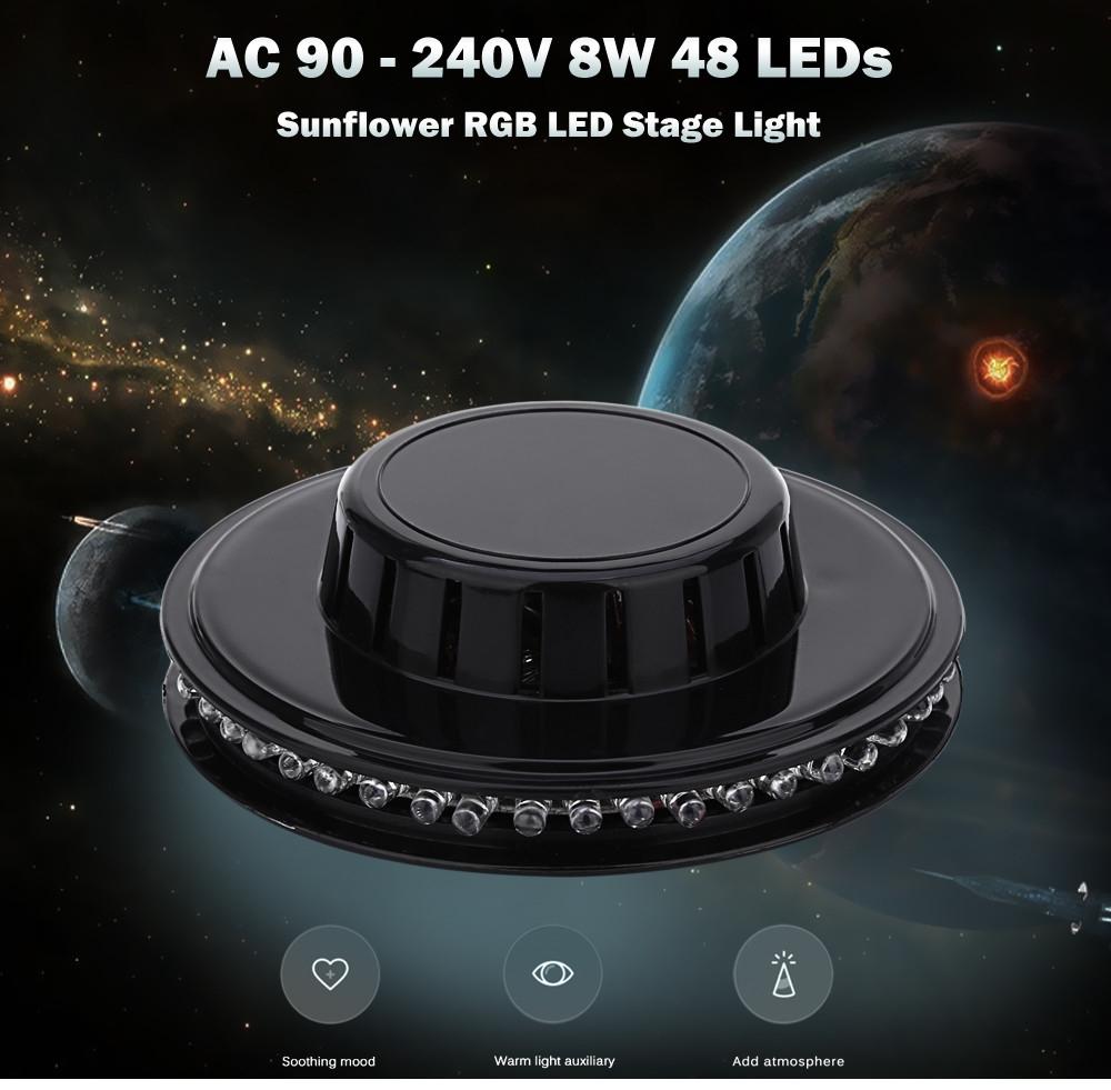 AC 90 - 240V 8W 48 LEDs Sunflower RGB LED Stage Light Wall Mount Rotating Lamp