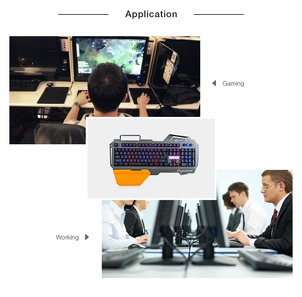 7pin PK - 820 Gaming Keyboard with RGB Backlight Phone Holder 104 Keys