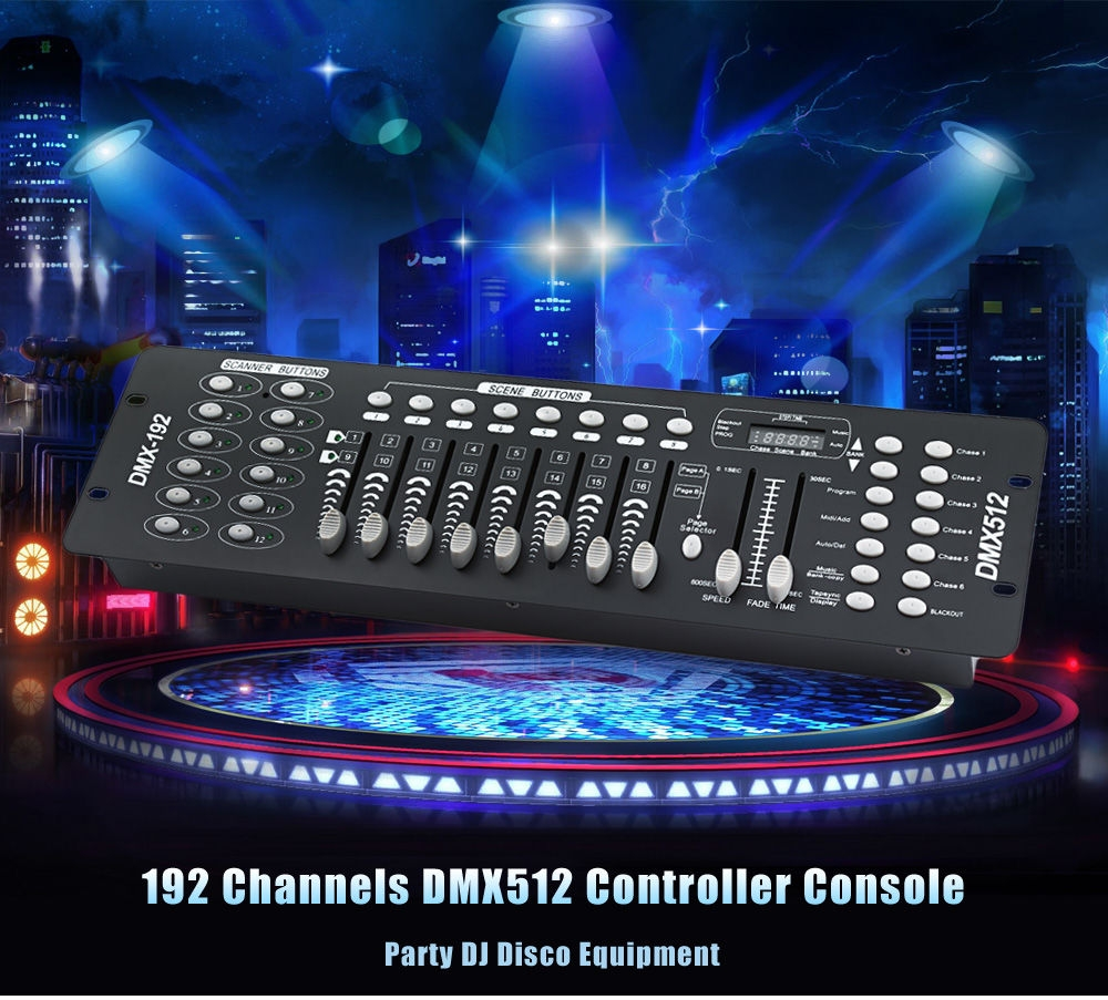 192 Channels DMX512 Controller Console for Stage Light Party DJ Disco Equipment