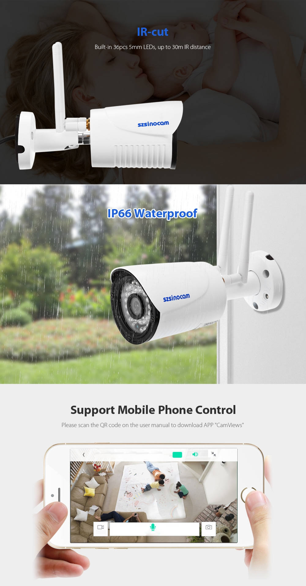 Szsinocam SZ - IPC - 7029CSW 2.0MP WiFi IP Camera Security System 1080P Motion Detection Waterproof
