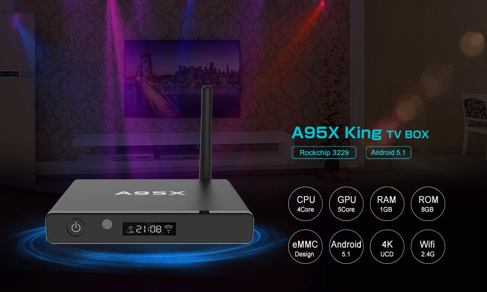 A95X King TV Box with RK3229 Quad-core CPU 3D Graphics Acceleration LED Display