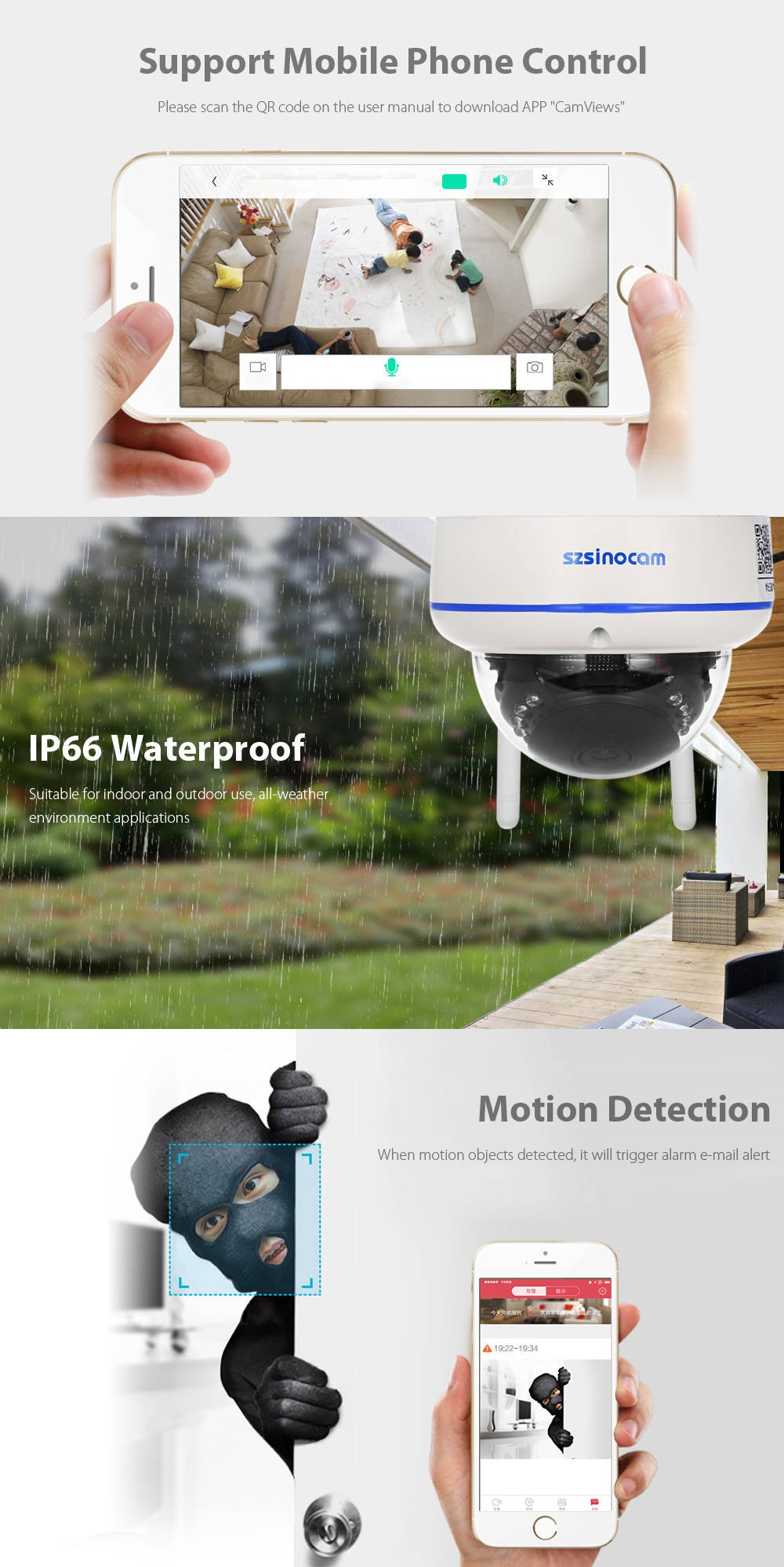 Szsinocam SZ - IPC - 7022SW WiFi IP Dome Camera Security System 1.0MP 720P Motion Detection Waterproof