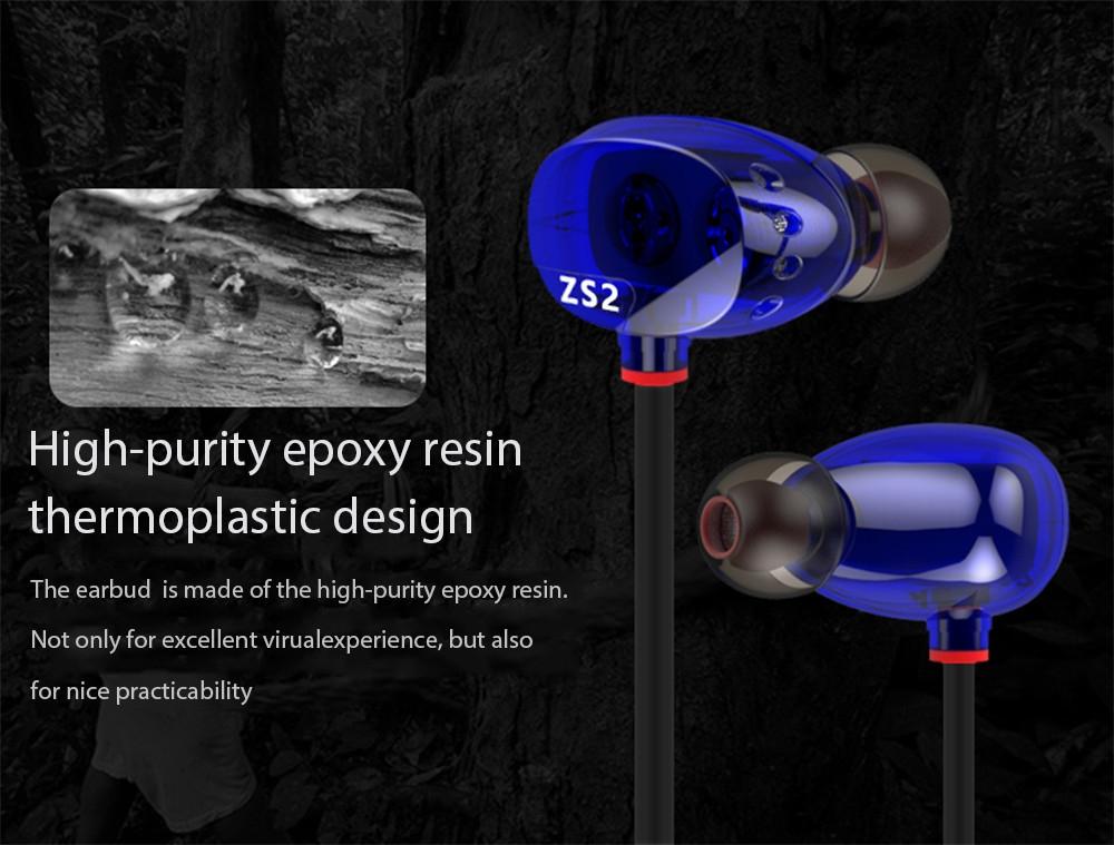 KZ ZS2 HiFi In-ear Earphones with Mic Super Bass Design