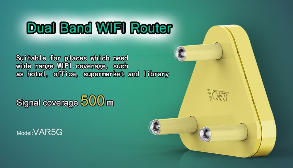 VONETS VAR5G High Performance Dual-band WiFi Router 750Mbps 2.4GHz / 5.0GHz Wireless AP
