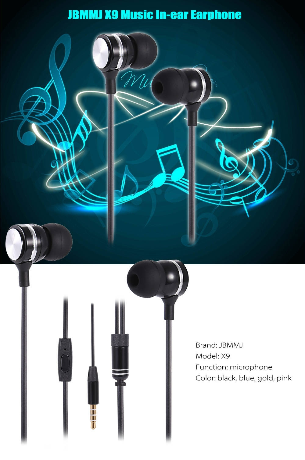 JBMMJ X9 Music In-ear Earphone with Mic Supporting Hands-free Calls