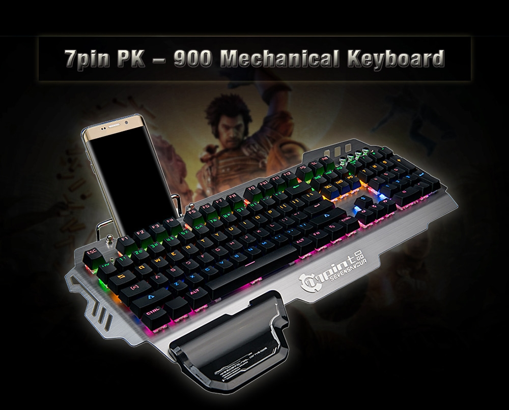 7pin PK - 900 Mechanical Keyboard for Gamers with Backlight 104 Keys