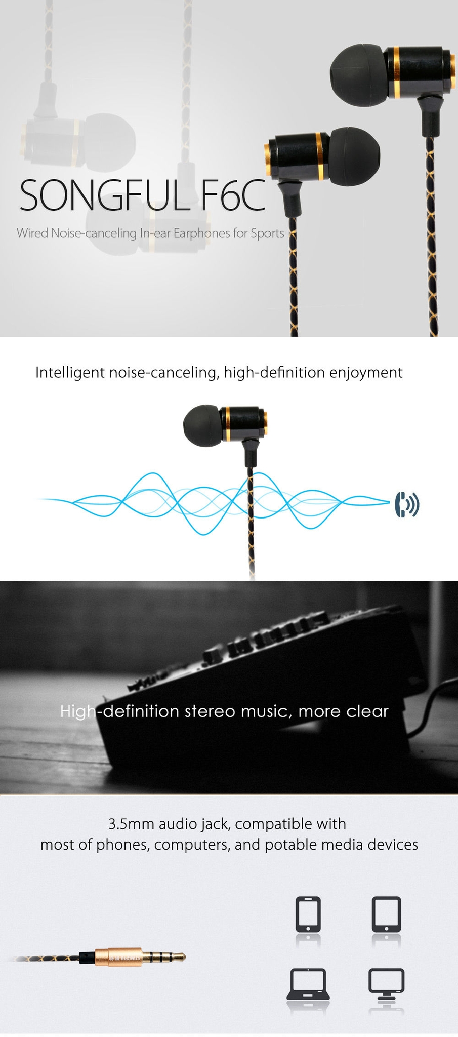SONGFUL F6C Wired On-cord Control Noise-canceling In-ear Earphones Built-in Mic