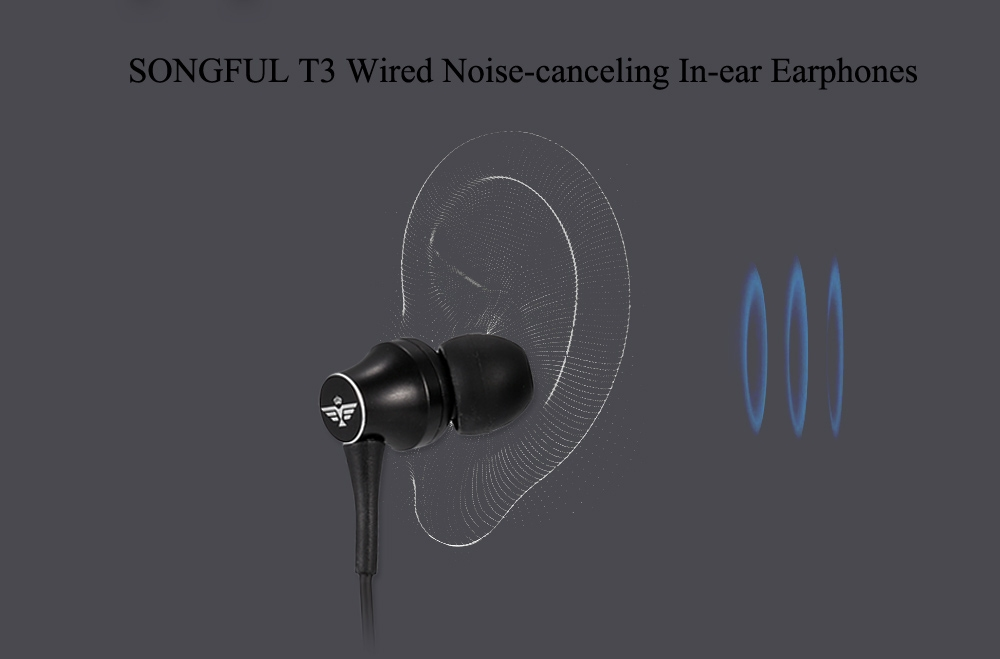 SONGFUL T3 On-cord Control Calls Answer Wired In-ear Earphones